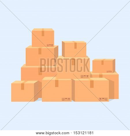 A pile of cardboard boxes vector illustration isolated. Stacked sealed boxes in a flat style. Illustration of moving or delivery.