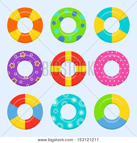 Rubber or inflatable ring vector set isolated from the background. Colorful icons swim ring in a flat style. Symbols vacation or holiday.