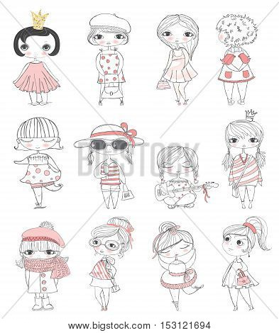 Cute stylish fashion girls, illustration picture for your design