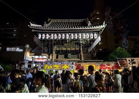NAGOYA, JAPAN-07,  August2016: Osu Kannon Temple. Osu Kannon natsu matsuri. Osu Kannon summer festival. In night time