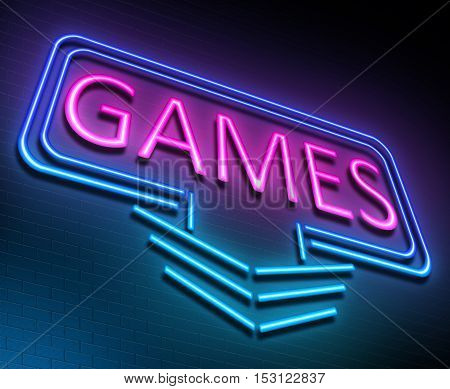 Illustration depicting an illuminated neon sign with a games concept.