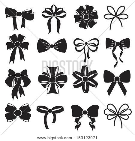 Gift decorative ribbon bow vector icons set. Satin accessory for present to xmas and birthday illustration