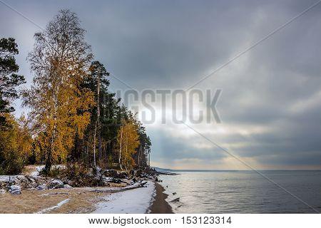A Cloudy Autumn Morning. Siberia, The Coast Of The Ob River