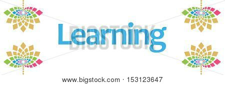 Learning text written over abstract floral colorful background.