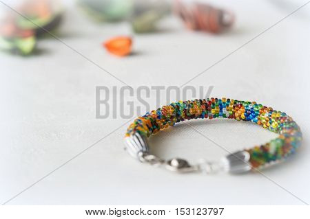 Beaded Bracelet Made From Small Beads Of Different Color