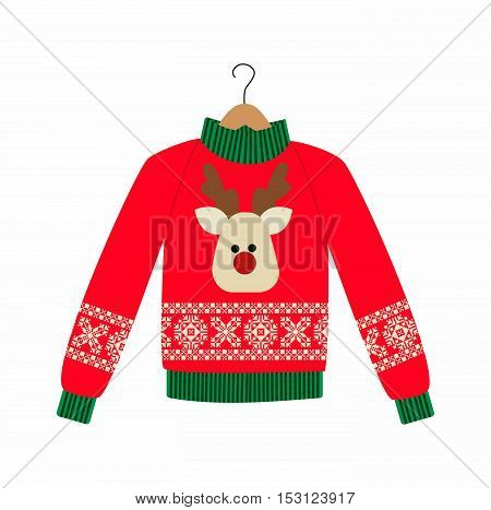 illustration of a red Christmas sweater with deer on the white background