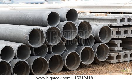 Asbestos cement pipes used for drainage construction.