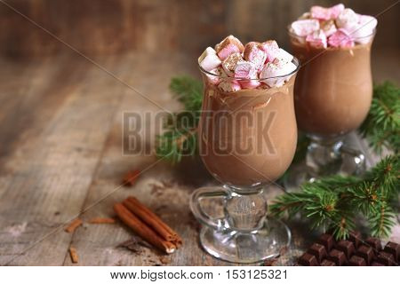 Two Portions Of Hot Chocolate In A Glasses.space For Text.