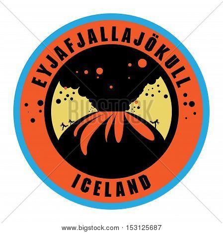 Stamp or label with words Eyjafjallajokull Iceland vector illustration