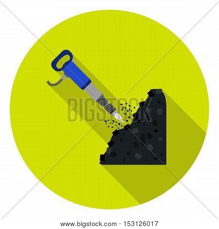 Jackhammer icon in flat style isolated on white background. Mine symbol vector illustration.