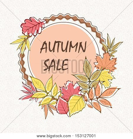 Autumn sale flyer template with lettering. Bright fall leaves. Poster card label banner design. Vector illustration
