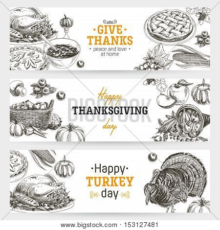 Vector hand drawn thanksgiving banners set. Vintage style illustration. Retro food background. Sketch