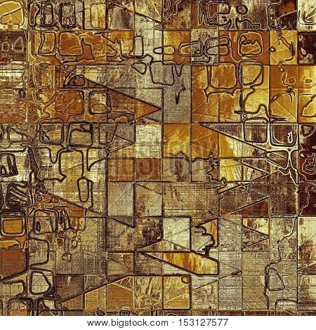 Geometric old grungy stylish composition, vintage texture with different color patterns: yellow (beige); brown; gray