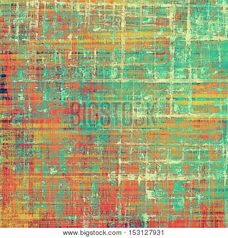Old school background or texture with vintage style grunge elements and different color patterns: yellow (beige); brown; green; blue; red (orange); pink