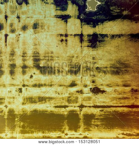Retro background with vintage style design elements, scratched grunge texture, and different color patterns: yellow (beige); brown; gray; blue; black