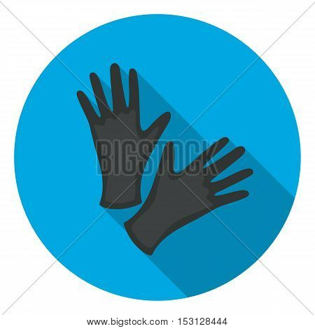Black protective rubber gloves icon in flat style isolated on white background. Tattoo symbol vector illustration.