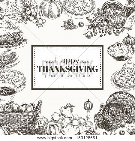 Vector hand drawn thanksgiving Illustration. Vintage style. Retro food background. Sketch