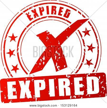 Illustration of expired red stamp on white background