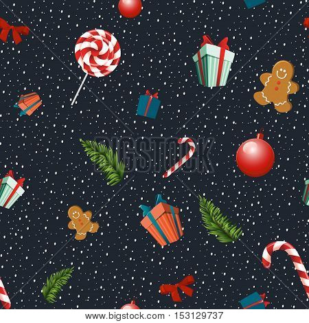 Merry Christmas seamless vector pattern with traditional elements: lollipops gingerbread men bow fir branches gift and Christmas balls.Pattern cropped with Clipping Mask.