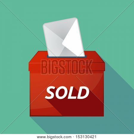 Long Shadow Ballot Box With    The Text Sold