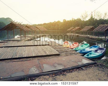 peaceful landmark float house wooden house on water
