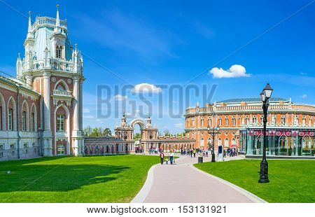 MOSCOW RUSSIA - MAY 10 2015: The covered gallery with decorated arch connects the Grand Palace and Kitchen Quarters (Bread House) of Tsaritsyno Royal Estate on May 10 in Moscow.