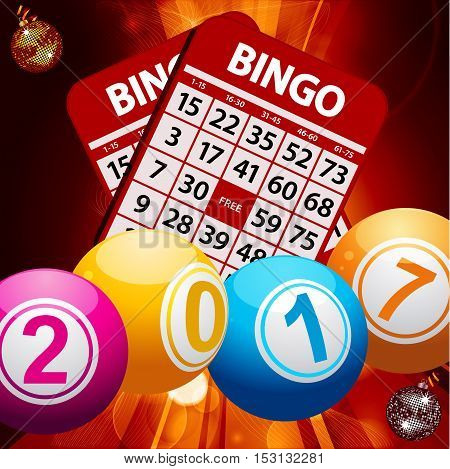 Bingo Lottery Balls with 2017 on Bingo Cards Over Glowing Background with Lens Flares and Disco Balls Baubles