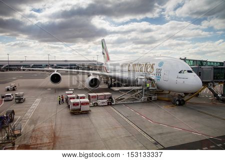 PRAGUE - September 6, 2016: Emirates Airbus A380 at Vaclav Havel Airport Prague on September 6, 2016, boarding passengers and boxes
