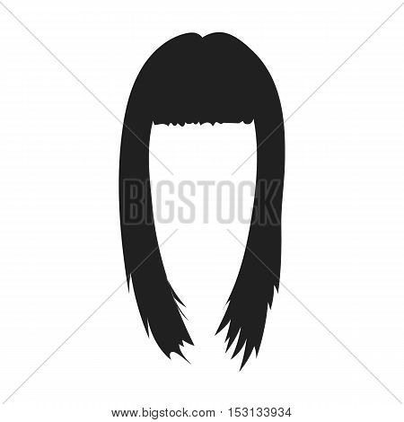 Woman's hairstyle icon in black style isolated on white background. hair symbol vector illustration.