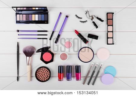 collection of cosmetics for perfect woman's makeup