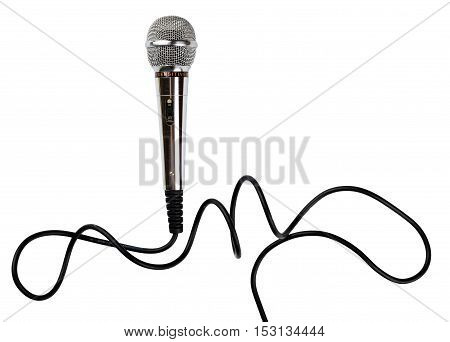 Microphone with cord isolated on white background
