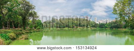 The Lake In The Aclimacao Park In Sao Paulo
