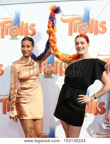 LOS ANGELES - OCT 23:  Icona Pop, Aino Jawo, Caroline Hjelt at the Trolls Premiere at Village Theater on October 23, 2016 in Westwood, CA