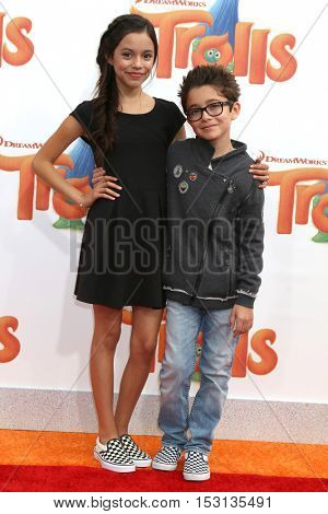 LOS ANGELES - OCT 23:  Jenna Ortega, Nicolas Bechtel at the Trolls Premiere at Village Theater on October 23, 2016 in Westwood, CA