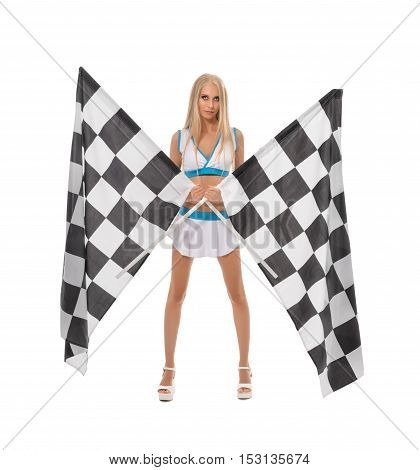 Races. Image of cute blonde posing with two checkered flags