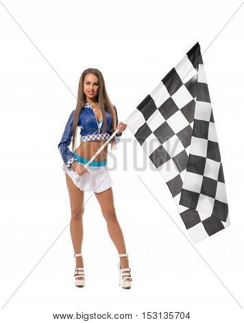 Races. Image of sexy brunette posing with checkered flag