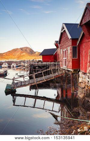 Norwegian Red Wooden Fishinf Barns