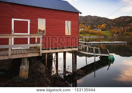 Traditional Norwegian Red Wooden Barn