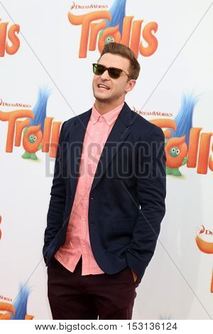 LOS ANGELES - OCT 23:  Justin Timberlake at the Trolls Premiere at Village Theater on October 23, 2016 in Westwood, CA