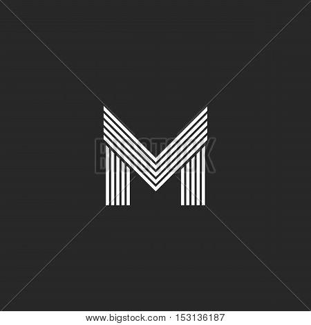 Monogram M Letter Logo Hipster Initial Emblem Template, Black And White Flat Thin Line Mockup Capita