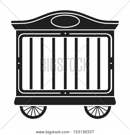 Circus wagon icon in black style isolated on white background. Circus symbol vector illustration.