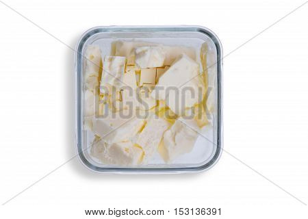 Dish Of Small Portions Of Full Cream Feta Cheese