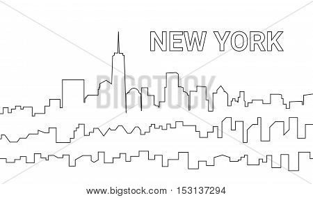 Background Modern City In A Line Style