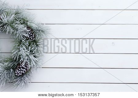 Seasonal Winter Christmas Wreath With Snow