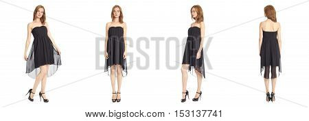 Full Length Portrait Of Young Female In Black Dress Isolated