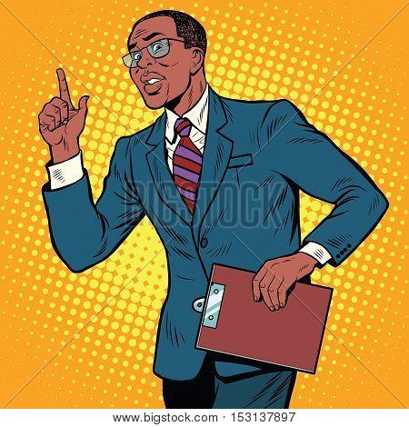 Businessman gesture of the teacher, pop art retro illustration. African American people