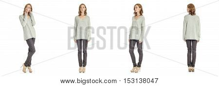 Skinny Brunette Fashion Model In Gray Blouse Isolated On White
