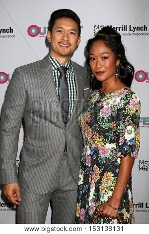 LOS ANGELES - OCT 23:  Harry Shum Jr, Shelby Rabara at the 2016 Outfest Legacy Awards at Vibiana on October 23, 2016 in Los Angeles, CA