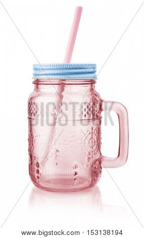 Vintage pink mason jar mug with lid and straw isolated on white