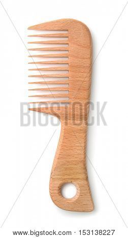Top view of wooden comb isolated on white